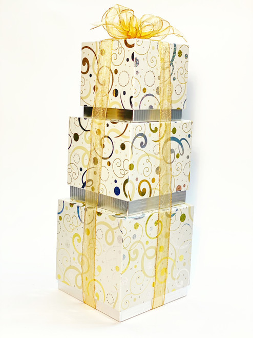 Gold & Silver Swirls Gift Tower