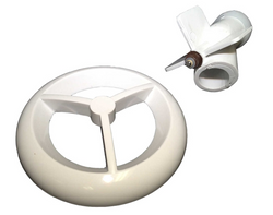 micromassage grill and flow path assembly in white