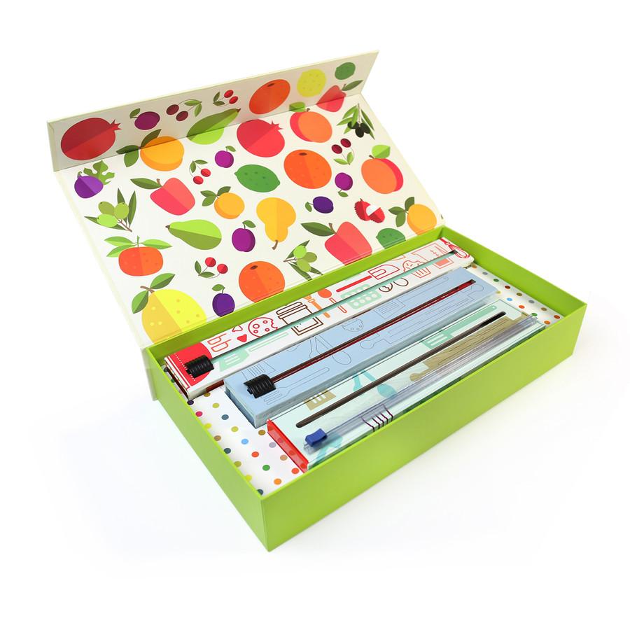 Dispenser Fruit Gift Box Set Dispenser 3 Pack - Plastic Wrap, Foil and Parchment