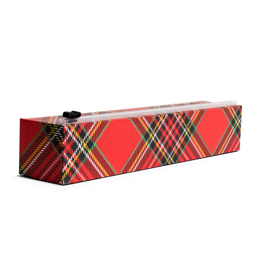 "NEW Dispenser Holiday Tartan Plastic Wrap Dispenser 12"" x 250'"