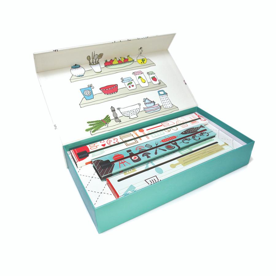 """Dispenser """"Green"""" Gift Box Set - Plastic Wrap, Foil and Parchment"""