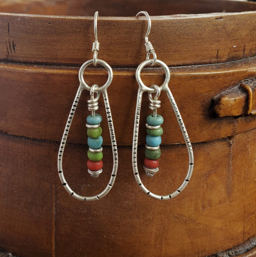 Sterling Earrings with Antique Czech Beads