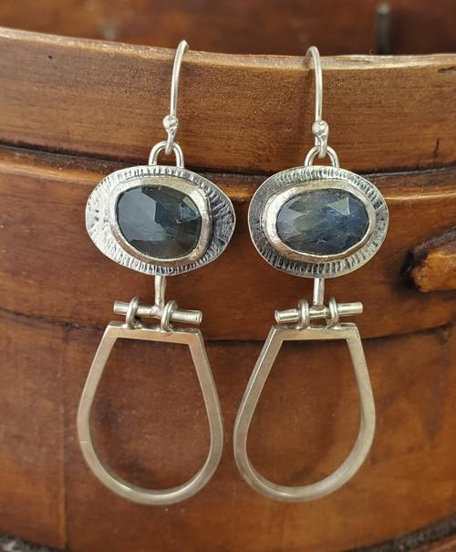 Blue Sapphire Hinged Earrings