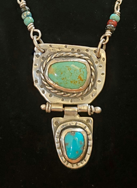 Double Turquoise Hinged Sterling Necklace