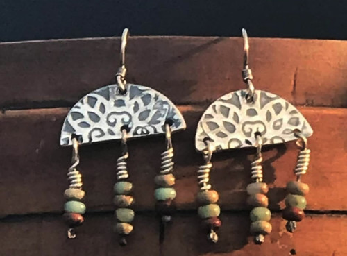Textured Sterling Earrings with African Opal Bead Dangles