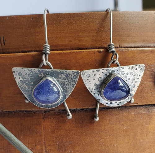 Sterling and Tanzanite Half Circle Earrings with Points