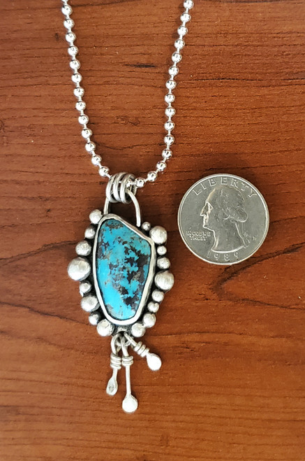 Hubei Turquoise Beaded Sterling Necklace