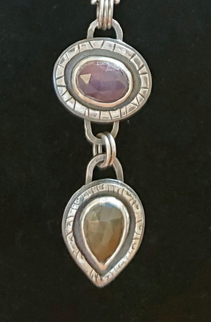 Pink and Yellow Sapphire Drop Pendant