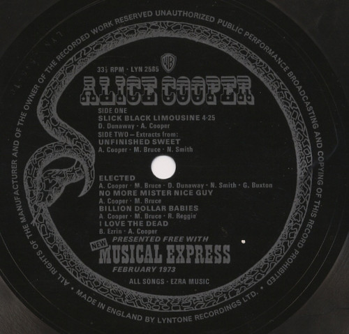 "7"" 33RPM Alice Cooper Flexi Disc from New Musical Express"