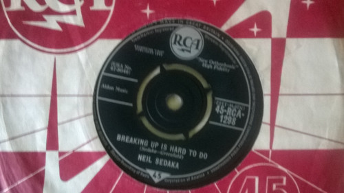 """7"""" 45RPM Breaking Up Is Hard To Do/As Long As I Live by Neil Sedaka from RCA"""