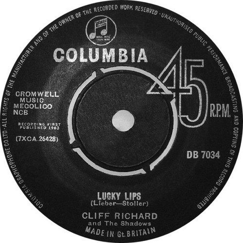 "7"" 45RPM Lucky Lips/I Wonder by Cliff Richard from Columbia"