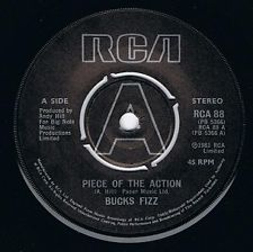 "7"" 45RPM Piece Of The Action/Took It To The Limit by Bucks Fizz from RCA"