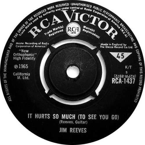 "7"" 45RPM It Hurts So Much (To See You Go)/Wishful Thinking by Jim Reeves from RCA"