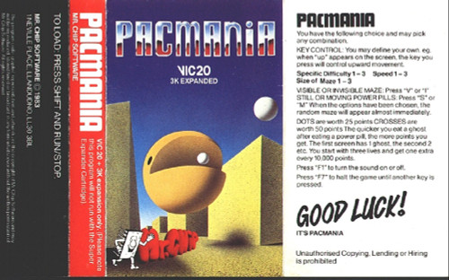Pacmania for Commodore Vic 20 from Mr Chip Software