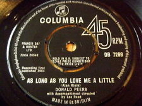 """7"""" 45RPM As Long As You Love Me A Little/Say That You'll Always Love Me by Donald Peers from Columbia"""