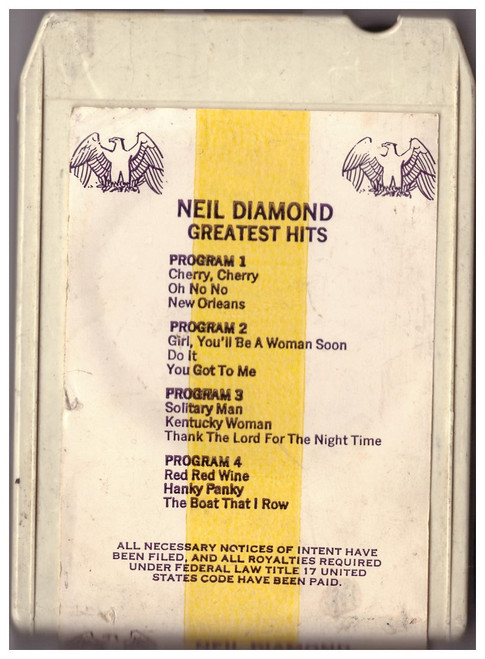 Neil Diamond Greatest Hits 8-Track from Bang Records