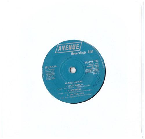 "7"" 33RPM Aloha Hawaii EP from Avenue Recordings"