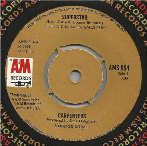 """7"""" 45RPM Superstar/For All We Know by Carpenters from A&M Records"""