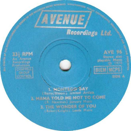 "7"" 33RPM 1970 Various Artists from Avenue Recordings"