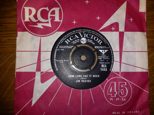 """7"""" 45RPM How Long Has It Been/Suppertime by Jim Reeves from RCA"""