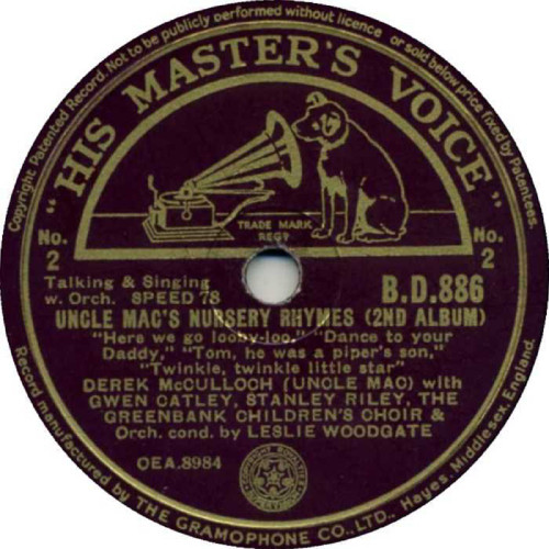 "10"" 78RPM Uncle Mac's Nursery Rhymes (2nd Album) by Derek McCulloch from His Master's Voice"