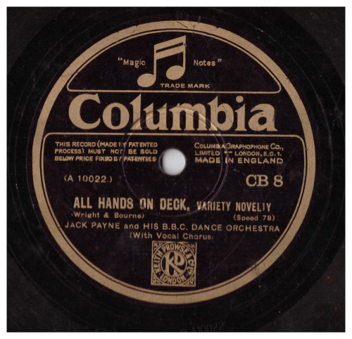 """10"""" 78RPM All Hands On Deck/An Old Italian Love Song by Jack Payne And His BBC Dance Orchestra from Columbia"""