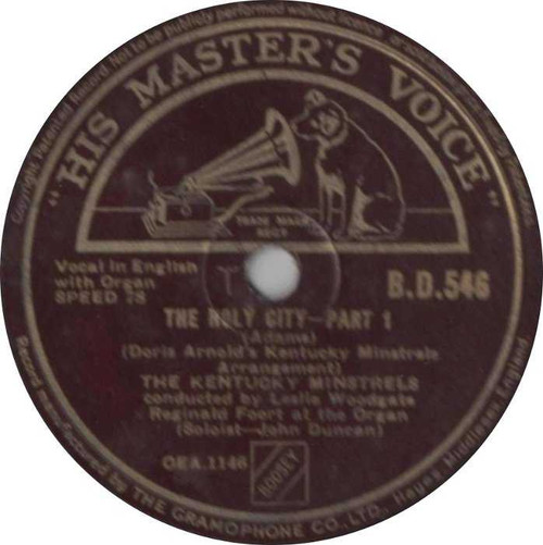 "10"" 78RPM The Holy City Part 1 & 2 by The Kentucky Minstrels from His Master's Voice"