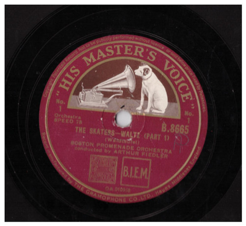 "10"" 78RPM The Skaters -  Waltz (Part 1)/The Skaters -  Waltz (Conclusion) by Boston Promenade Orchestra from His Master's Voice"