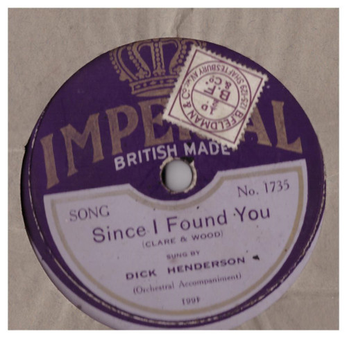 "10"" 78RPM Since I Found You/In Our Love Canoe by Dick Henderson from Imperial"