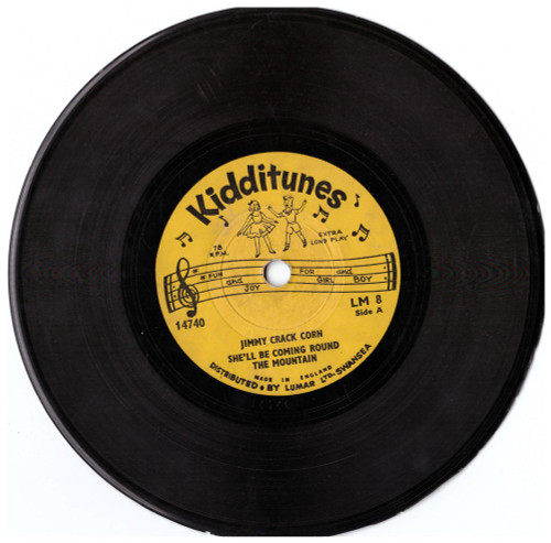 "6"" 78RPM Jimmy Crack Corn/She'll Be Coming Round The Mountain/Oh Suzanna/There's A Tavern In The Town from Kidditunes"