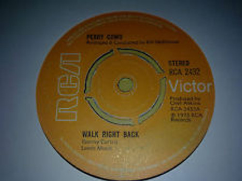 """7"""" 45RPM Walk Right Back/Snowbird by Perry Como from RCA Victor"""