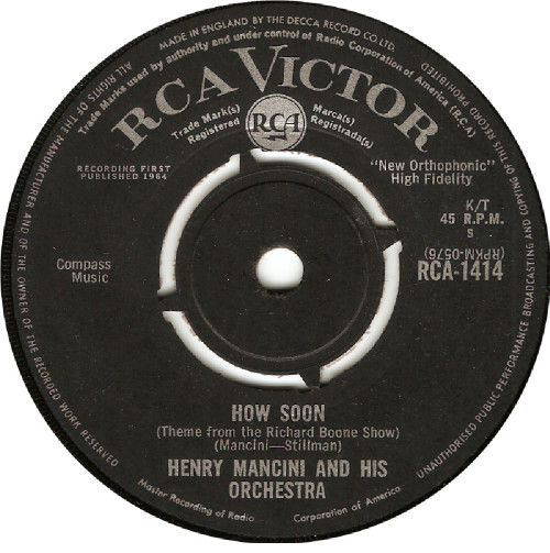 """7"""" 45RPM How Soon/The Tiber Twist by Henry Mancini And His Orchestra from RCA Victor"""