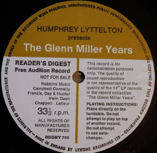 "7"" 33RPM Humphrey Lyttelton Presents The Glenn Miller Years Flexi-Disc from Reader's Digest (RDGMY 706)"