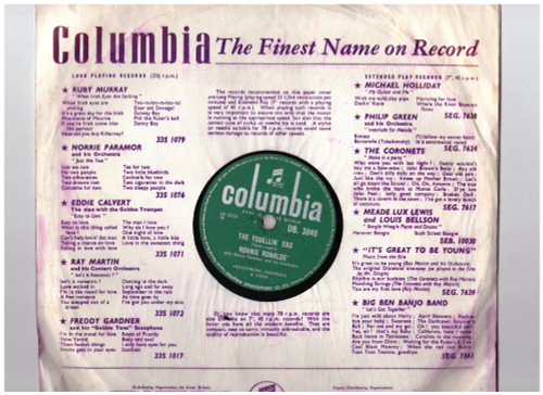 """10"""" 78RPM The Yodellin' Rag/Mirabelle by Ronnie Ronalde from Columbia (DB. 3840)"""
