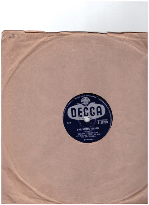 "10"" 78RPM Christmas Island/The Hand Of Friendship by Dickie Valentine from Decca (F.10798)"