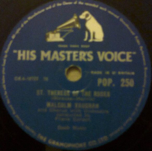 """10"""" 78RPM St. Therese Of The Roses/Love Me As Though There Was No Tomorrow by Malcolm Vaughan from His Master's Voice (POP. 250)"""