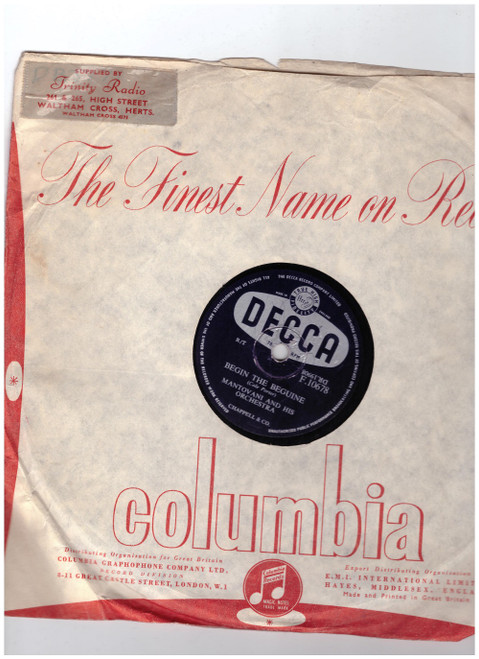 "10"" 78RPM Begin The Beguine/Candlelight by Mantovani And His Orchestra from Decca (F.10678)"