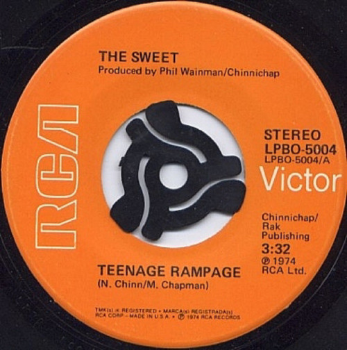 "7"" 45RPM Teenage Rampage/Own Up, Take A Look At Yourself by The Sweet from RCA (LPBO-5004)"