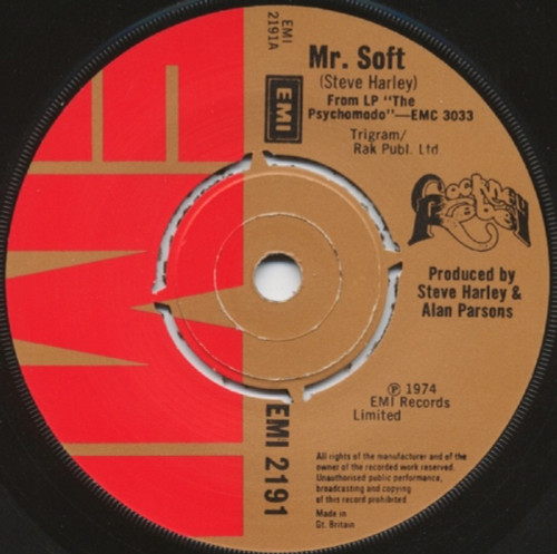 """7"""" 45RPM Mr. Soft/Such A Dream by Cockney Rebel from EMI (EMI 2191)"""