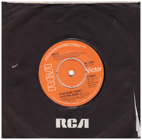 """7"""" 45RPM Star Wars Theme/Cantina Band/Funk by Meco from RCA Victor (XB 1028)"""