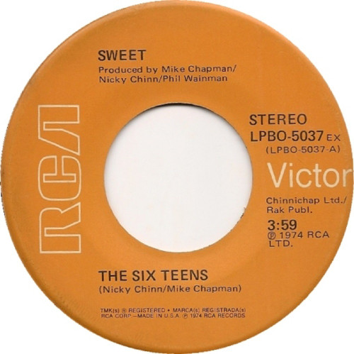 "7"" 45RPM The Six Teens/Burn On The Flame by Sweet from RCA Victor (LPBO-5037 EX)"