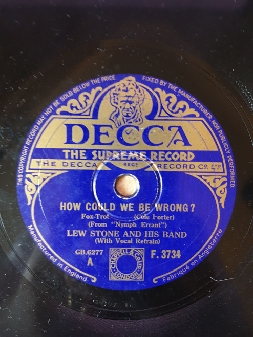 "10"" 78RPM How Could We Be Wrong?/Experiment by Lew Stone And His Band from Decca (F.3734)"