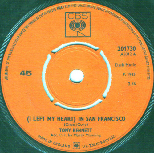 "7"" 45RPM (I Left My Heart) In San Francisco/Candy Kisses by Tony Bennett from CBS (201730)"