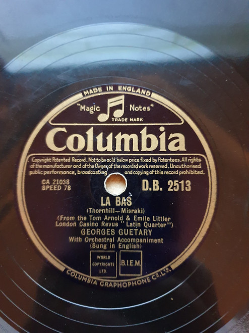 """10"""" 78RPM Clopin Clopant/La Bas by Georges Guetary from Columbia (D.B. 2513)"""