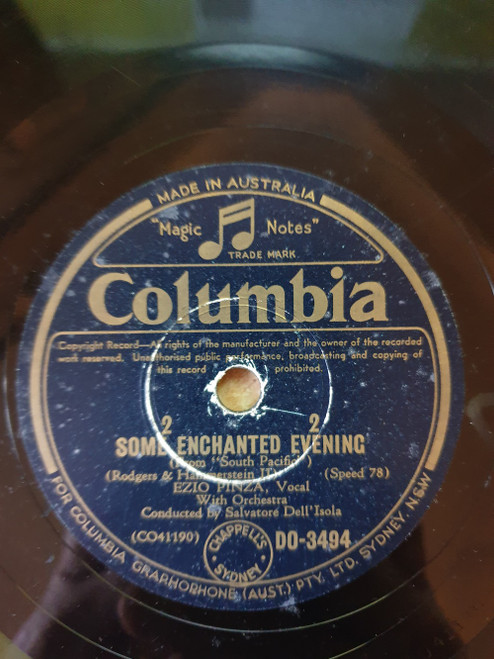 """10"""" 78RPM Some Enchanted Evening/Honey Bun/Carefully Taught from Columbia (DO-3494)"""