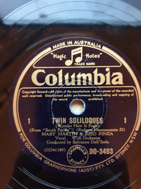 """10"""" 78RPM Twin Soliloques (Wonder How It Feels)/This Nearly Was Mine by Mary Martin & Ezio Pinza from Columbia (DO-3493)"""