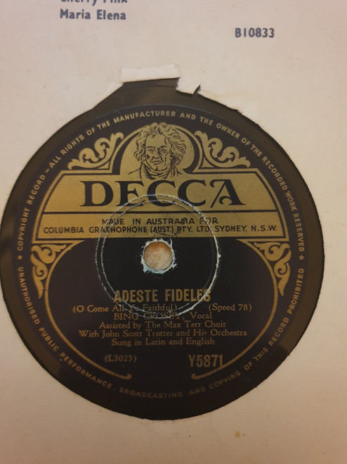 "10"" 78RPM Adeste Fideles/Silent Night, Holy Night by Bing Crosby from Decca (Y5871)"