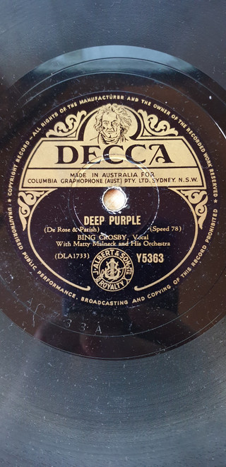 "10"" 78RPM Deep Purple/Star Dust by Bing Crosby from Decca (Y5363)"