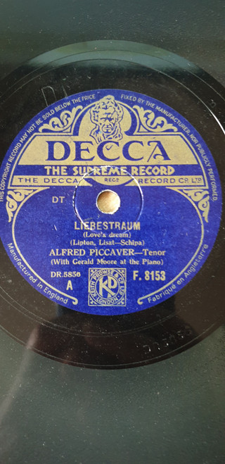 "10"" 78RPM Liebestraum/The Holy City by Alfred Piccaver from Decca (F.8153)"