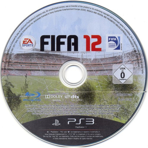FIFA 12 Disc Only PAL for Sony PlayStation 3 from EA Sports (BLES 01381)